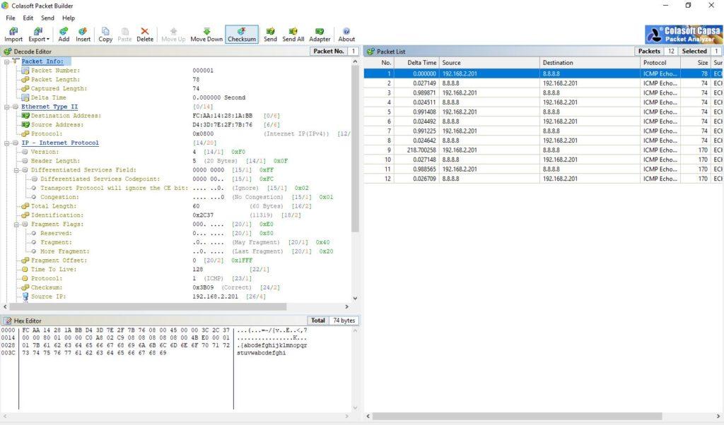 Anzeige des Programmes Colasoft Packet Builder